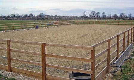 Timber fence fibre surface riding arena
